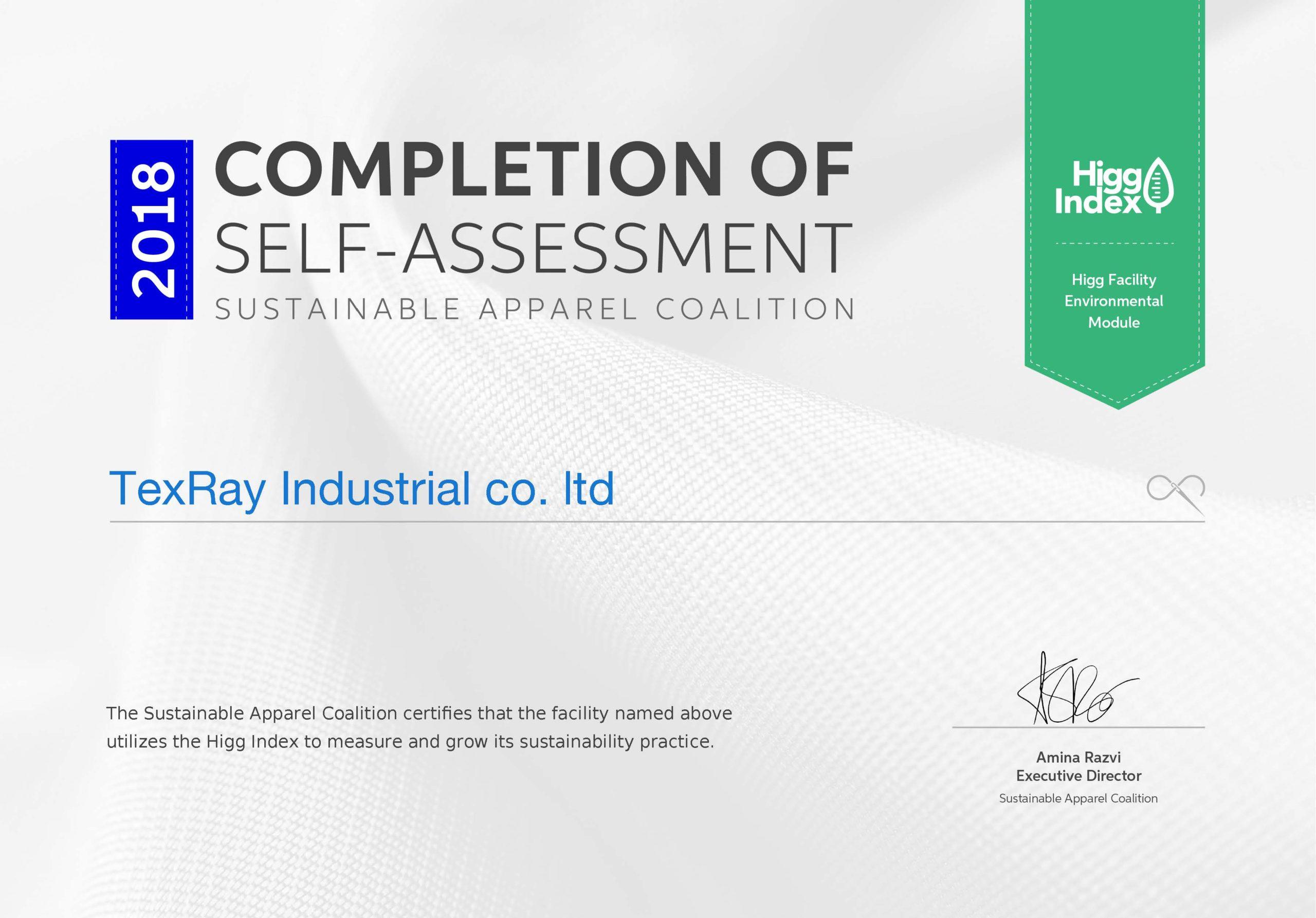 Higg certificate-Self assesment